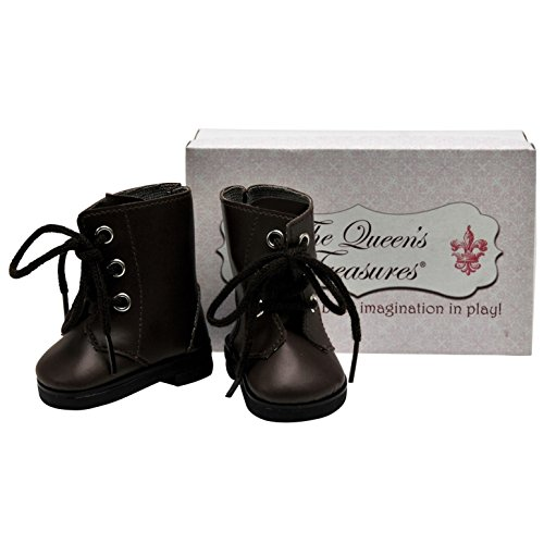 The Queens Treasures 18 Inch Doll Clothes Accessory, Brown Lace Up Vintage Style Boots Plus Shoe Box Fits American Girl Dolls