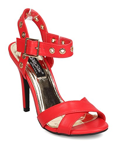 Women Leatherette Cross Band Peep Toe Grommet Ankle Strap Stiletto Sandal FA86 - Red (Size: 8.5)