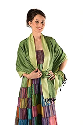Hand Aritstry 100% Natural Silk Handwoven Scarf in Solid Colors w/ Border - An Elegant & Luxury Gift Item