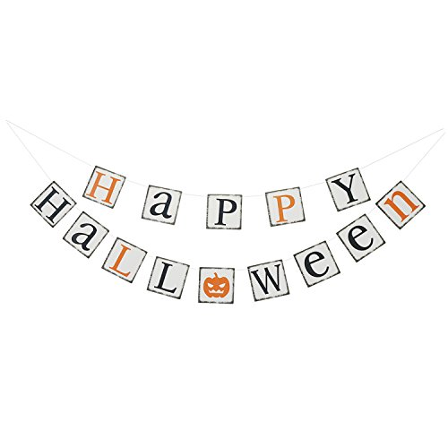 Vintage HAPPY HALLOWEEN Banner Bunting with Pumpkin Sign - Halloween Theme Party Decorations Supplies ,Home Decor Hanging Photo Props (Banner De Halloween)