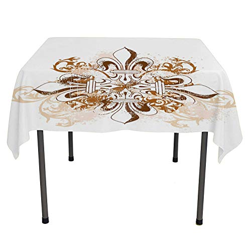 Fleur De Lis kitchen tablecloth Ancient Antique Heraldry Symbol Vintage Floral Swirls Traditional Old Fashion Brown White outdoor picnic table cloth washable Spring/Summer/Party/Picnic 60 By 60
