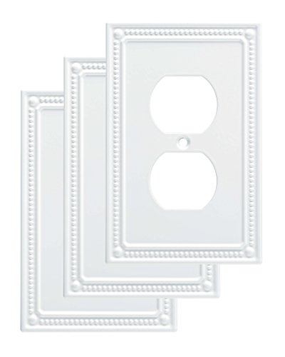 (Franklin Brass W35059V-PW-C Classic Beaded Single Duplex Wall Plate/Switch Plate/Cover (3 Pack), White)