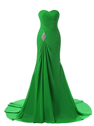 Lily Weddding Womens Sweetheart Mermaid Prom Bridesmaid Dresses 2018 Long Formal Evening Ball Gowns FED00302 Green ()