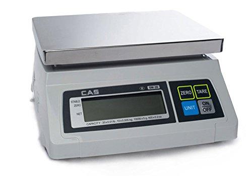 CAS SW-1 (20) SW Series Portion Control Bench Scale, 20lb Capacity, 0.01lb -