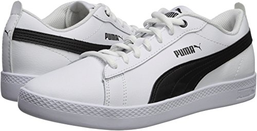(PUMA Women's Smash WNS v2 Leather Perf Sneaker, White White, 8 M US)