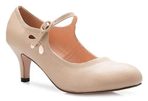 OLIVIA K Women's Kitten Low Heels Round Toe Mary Jane Pumps - Adorable Vintage Retro Shoes- Unique Side Cut Out - Round Nude Women