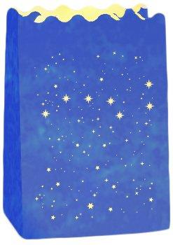 Wenko Lichtertüte Luminaria Großer Wagen Windlicht, 6-er Set, Pappe Papier Zellstoff, 11 x 16 x 9 cm, blau 8580100
