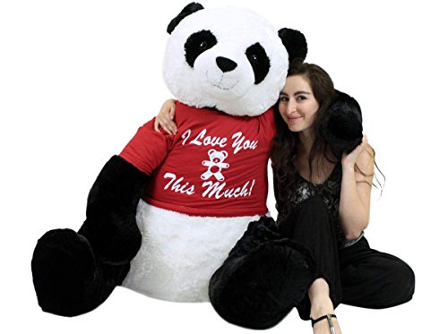 Giant Valentine day stuffed animals - Romantic Life Size Stuffed Panda, Soft Big Plush Bear Wears Tshirt I Love You This Much