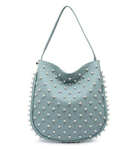 EAMUK Ladies Designer Pearl Studded Bucket Shoulder Bag Women's Slouch Handbag Tote Handbag M7763 Green