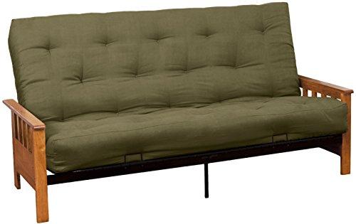 Epic Furnishings Berkeley 10-inch Loft Inner Spring Futon Sofa Sleeper Bed, Full-size, Medium Oak Arm Finish, Microfiber Suede Olive Green Upholstery