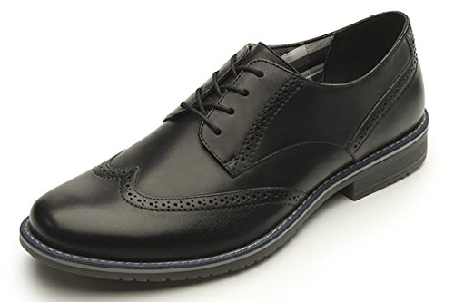 Wing Tip Oxford Lace (Flexi Jeremy 92402 Men's Genuine Black Leather Classic Wingtip Oxford | Lace Dress Shoe | Handmade in Mexico 12)