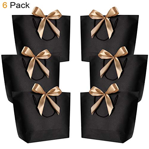 Gift Bags with Handles- WantGor 14.2x10.2x4.3inch Paper Party Favor Bag Bulk with Bow Ribbon for Birthday Wedding/Bridesmaid Celebration Present Classrooms (Matte Black, Large- 6 Pack)
