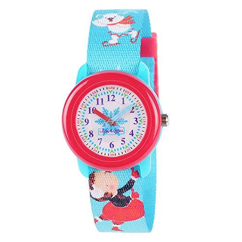 Venhoo Kids Watches Cute Cartoon Waterproof Fabric Strap Children Toddler Wrist Watch Time Teacher Birthday Gift 3-10 Year Girls Little Child-Winter Snowman