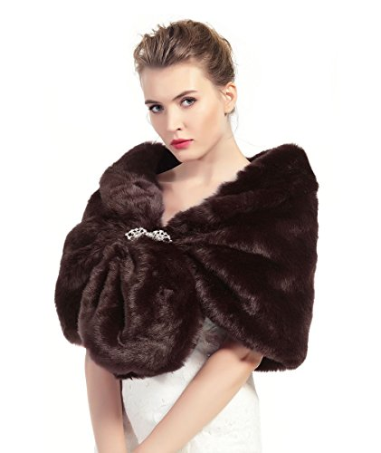 Faux Fur Shawl Wrap Stole Shrug Winter Bridal Wedding Cover Up Brown Size L