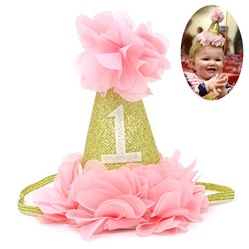 Honbay Baby Girl First Birthday Cone Hat Baby Princess 1st Cake Smash Party Crown ()