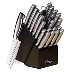 Oster Baldwyn 22 Pc Kitchen Cutlery Knife Knives Set Stainless Steel Block Black