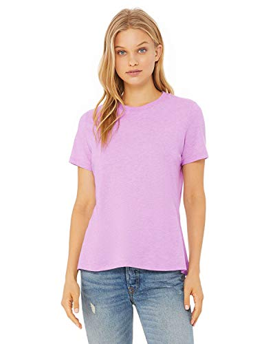 (Bella + Canvas - Women's Relaxed Short Sleeve Jersey Tee - 6400 - L - Heather Prism Lilac )