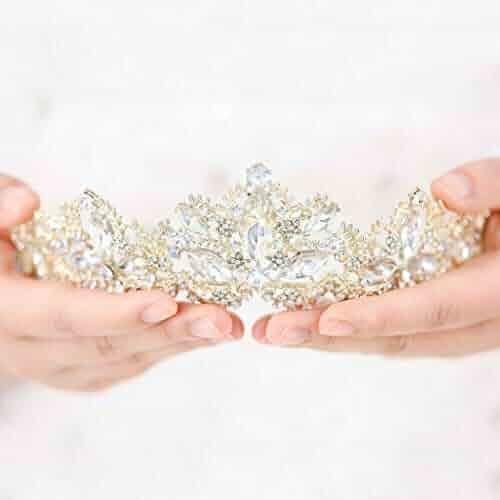 c1ae3596890d Aukmla Wedding Hair Accessories Bride Crowns Flower Queen Tiaras Headpiece  for Women (Gold)