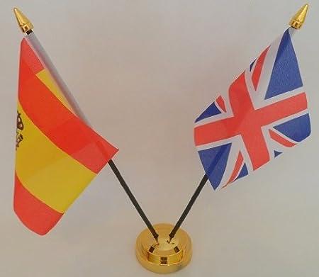 State español de la bandera de España La bandera del Reino Unido de la bandera de 2 bolas de cristal de mesa con pantalla dorado Base: Amazon.es: Hogar