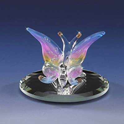 Miniature Baby Butterfly Crystal Glass Butterflies Figurine Collectible Rainbow Colored Wing Hand Blown