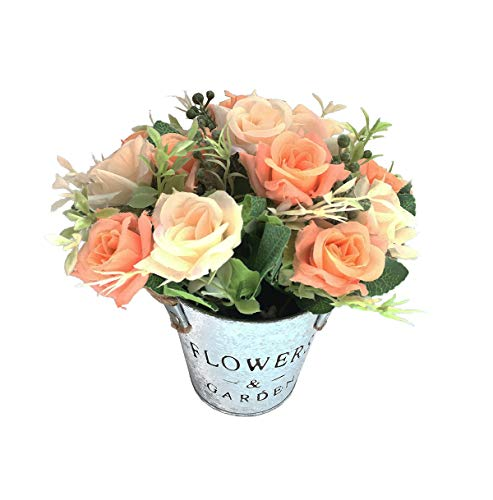 Charmly Artificial Flowers Potted European Style Design Silk Rose Arrangements House Office Restaurant Table Centerpieces Windowsill Decor Rose1-champagne]()