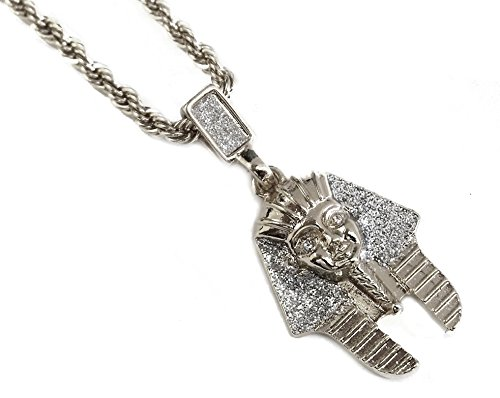 Silver King Tut Pendant Necklace with 24