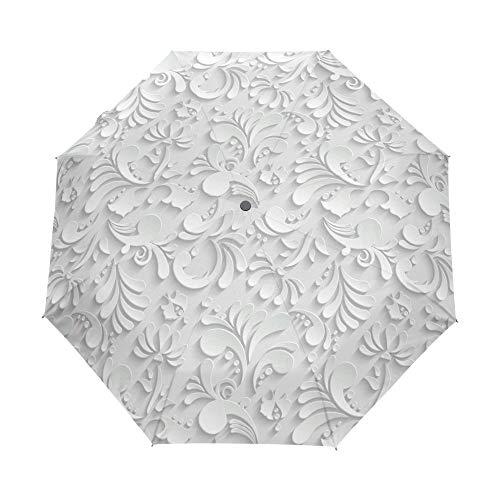 Yanluzz Automatic 3D Flower White Chinese Sun Umbrella Windproof Folding Umbrella Female Uv Protection Outdoor Travel Umbrella C