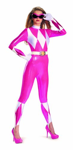 [Disguise Sabans Mighty Morphin Power Rangers Pink Ranger Sassy Womens Adult Bodysuit Costume, Pink/White,] (White Ranger Adult Costumes)