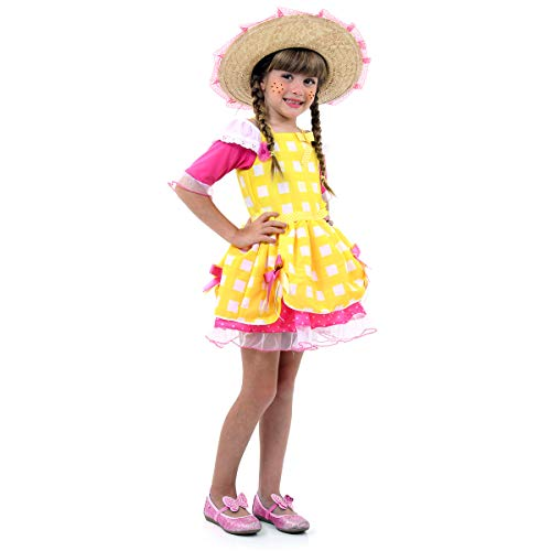 Fantasia Caipira Luxo Amarela Infantil 39190-p Sulamericana Fantasias Amarelo/rosa P 4