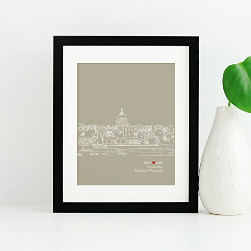 Madison City Skyline Personalized Home Decor Unframed Art (Madison Collection Wall)