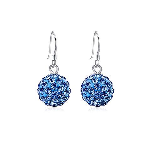 JULIANI 18k-Gold-Plated Drop & Dangle Earrings - 10mm Hypoallergenic Round Ball Fashion Blue 1 CTTW Austrian Crystal Diamond | Nickel & Lead Free Jewelry for Women Kids | Girls Teens
