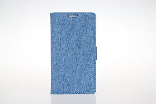 LG L Fino D295 Hülle,LG L Fino D295 Tasche,LG L Fino D295 Schutzhülle,LG L Fino D295 Hülle Case,LG L Fino D295 Leder Cover,Cozy hut [Burlap - Muster-Mappen-Kasten] echten Premium Leinwand Flip Folio Denim Abdeckungs-Fall, Slim Case mit Ständer Funktion und Identifikation-Kreditkarte Slots für LG L Fino D290N/D295 (4,5 Zoll) - blau