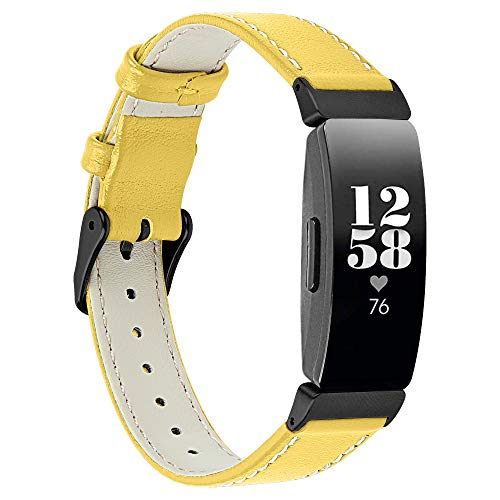 Autulet Compatible for Fitbit Inspire Bands Bands & Fitbit Inspire Hr Band Leather Watch Band Replacement Leather Bracelet Replacement for Fitbit Bands Yellow for Fitbit Inspire/Inspire Hr Tracker ()