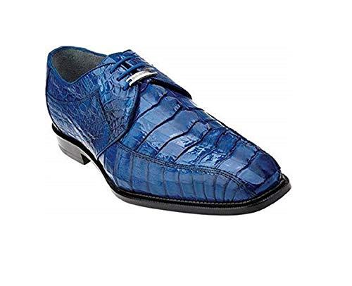 Belvedere Men's Colombo Hornback Square Toe Oxford,Ocean Blue Crocodile/Lizard,U ()