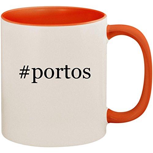 #portos - 11oz Ceramic Colored Inside and Handle Coffee Mug Cup, Orange