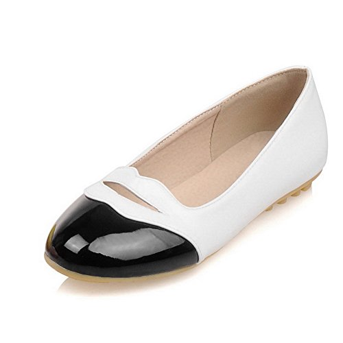 Voguezone009 De Mujer De Charol De Color Surtido Pull On Round Toe Low Heels Loafer-flats Negro