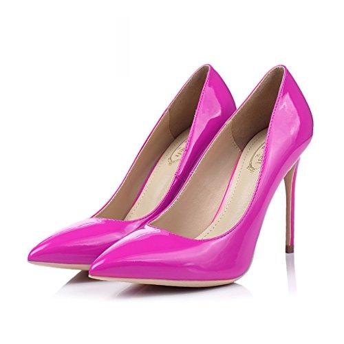 Single shoes - female Chaussures à talons hauts mariage sexy peu profonde 8.5cm/10.5cm rose chaussures de mariée rouge (Couleur : Height 8.5cm, taille : 35-Shoes long225mm) Height 10cm