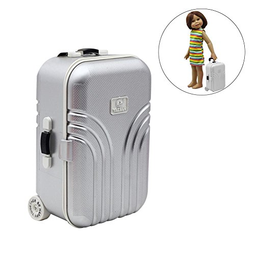 Doll Suitcase Toy, Travel Train Suitcase Luggage Case Doll Dress Storage Case Toys for Barbie Doll House Exquisite Mini Trunk Luggage Carrier Boot for Girl & Boy Doll