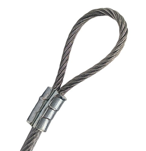 PSI 4ft Custom Cut Galvanized Steel Wire Rope 1/8-3/16 Vinyl Coated Single Loop Aluminum Clip Indoor Outdoor String Light Telecommunication Ground Guide Cable Marine Décor Commercial Applications 4' Ground Sleeve