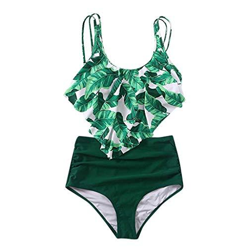 Kaitobe Women's Bohemia Two Piece Tankini Swimsuit Print Backless High Waist Bathing Suit Swimwear Beachwear Green by Kaitobe Swimsuits (Image #2)