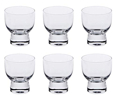 Happy Sales HSSC-6CLR2, Set of 6 Cold Glass Sake Cup Cups, Clear Glass