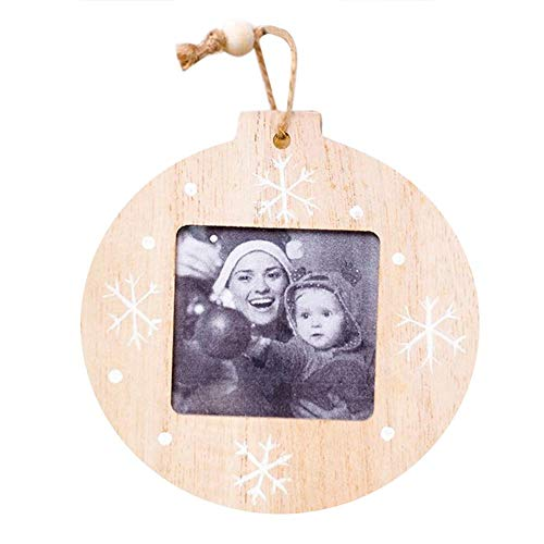 (Lijuan Qin 12pcs DIY Round Heart Shape Wooden Photo Picture Frame Hanging Pendant, Christmas Tree Ornaments Decoration for Bedroom, Parties, Weddings, Valentine's Day)