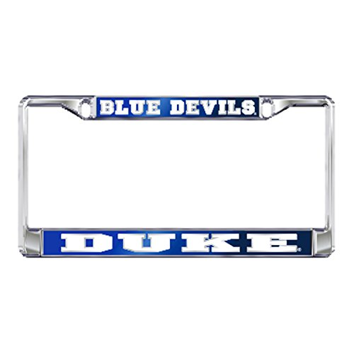 DUKE UNIVERSITY Chrome Blue Devils License Plate Tag Frame (Blue License Plate Mirror)