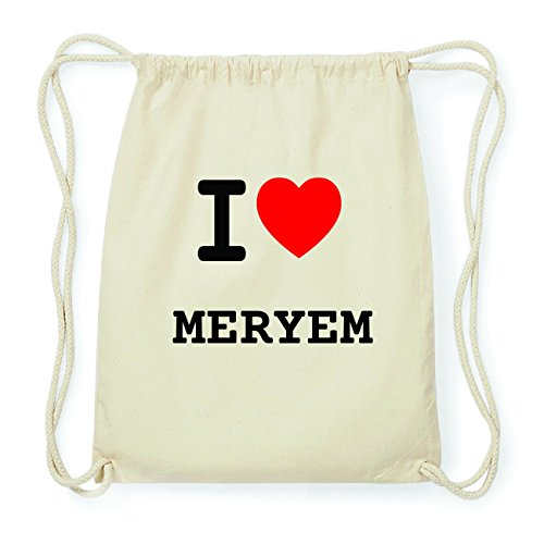 JOllify MERYEM Hipster Turnbeutel Tasche Rucksack aus Baumwolle - Farbe: natur Design: I love- Ich liebe clMc2t3