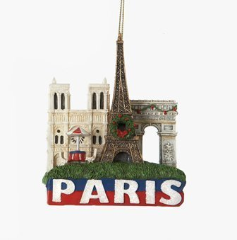 - City-Souvenirs Paris Landmarks Christmas Ornament with Eiffel Tower, Arc de Triomphe and Notre Dame