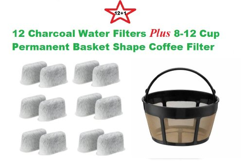 8-12 Cup Basket Shape Permanent Coffee Filter & a set of 12 Charcoal Water Filters for Cuisinart DCC-RWF1 Coffeemakers