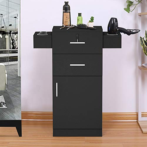 SSLine Salon Station Black Finish Styling Station Beauty Spa Locking Cabinet Barber Shop Free Standing Hair Salon Storage Cabinet Organizer with Hair Dryer Holder/Drawers/Bottom Chest (Black)