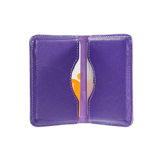 Business Card Case, Wisdompro 2-Sided PU Leather Folio Professional Name Card Holder Wallet Case / Organizer with Magnetic Shut for Men and Women, Ultra Slim and Thin - Purple (Cards Personalized For Christmas Business)