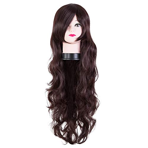 Black Wig Synthetic Heat Resistant Carnival Long Curly Hair Female Women Party Halloween Costume Cosplay Hairpiece,Brown,26inches]()