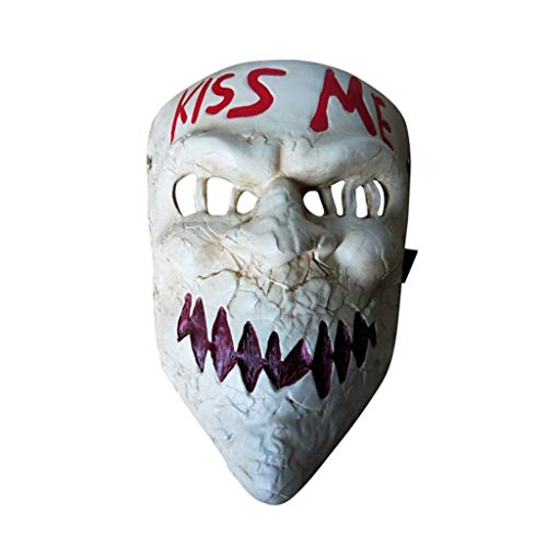 The Purge Movie Kiss Me Mask Halloween Mask Horror Cosplay Game Scary Joker Mask for Halloween Fancy Dress Accessory by baoshihua (Image #3)